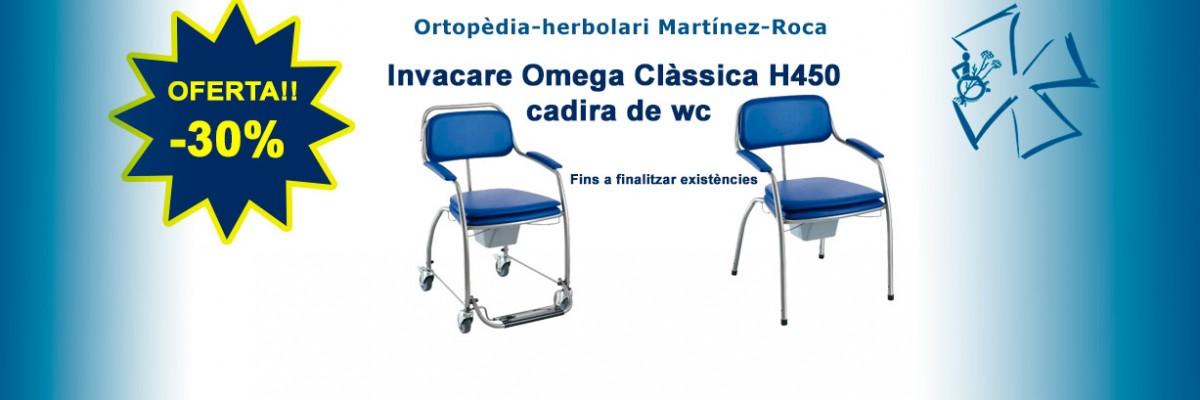Invacare Omega Clàssica H450 és una cadira de wc amb obertura higiènica