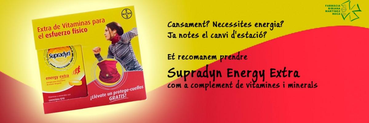 A Farmàcia Bibiana el recomanen: Supradyn Energy Extra com a complement de vitamines i minerals que a més a més conté Coenzim Q10 per donar-te més energia!